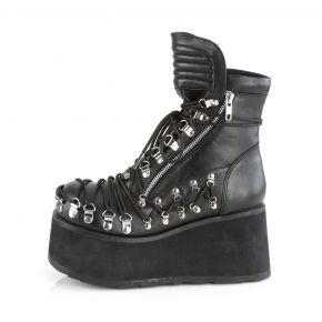 Gothic Ankle Boots CLASH-150 - Lederimitat Schwarz