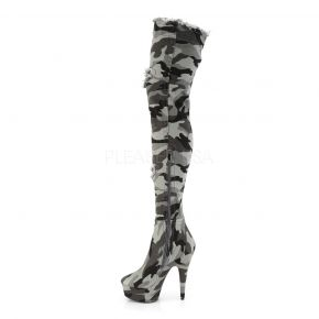 Plateau Overknee Stiefel DELIGHT-3005 - Camouflage