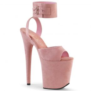 Extrem Plateau Heels FLAMINGO-891 - Velour Baby Pink