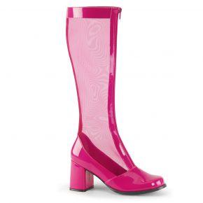 Netz Stiefel GOGO-307 - Lack Pink